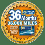 36 Months/36,000 miles warranty