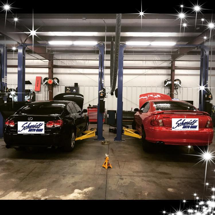 Cars On Lifts at Schmidt Auto Care