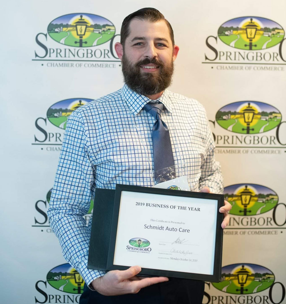 Erich Schmidt Cerificate at Springboro Chamber Of Commerce